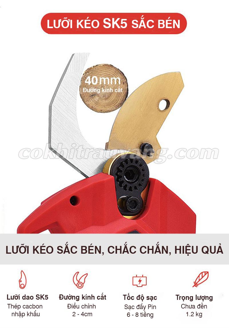 lưỡi dao kéo cắt cành pin